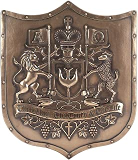 Dicksons The Way Truth Life Lion Lamb Bronzetone Shield 12 x 14 Inch Decorative Hanging Wall Plaque