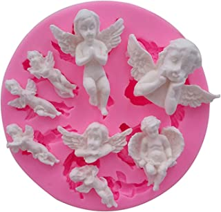Mujiang Angel Baby Fondant Mold Silicone Cake Decorating Tools Chocolate Polymer Clay Molds Cake Topper Decoration, Pink