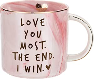 Girlfriend Anniversary, Birthday, Romantic Gift - Love You Most The End I Win - Cute Couple Gifts Ideas for Girlfriend, Wife, Fiance, Mom, Her, Couples - Pink Marble Mug, Ceramic 11.5oz Coffee Cup