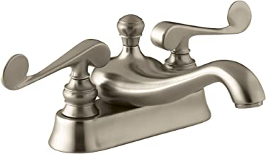 KOHLER K-16100-4-BV Revival Centerset Lavatory Faucet with Scroll Lever Handles, Vibrant Brushed Bronze