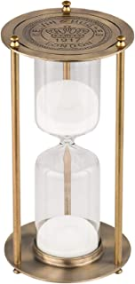 KSMA 60 Minutes Hourglass Sand Timer,Brass-Tone Metal Hour Glass with White Sand