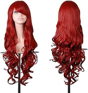 Emax design - Parrucca da donna per cosplay di alta qualità, capelli lunghi ricci a spirale ondulati, resistente al...