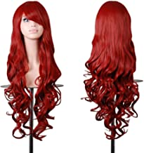 EmaxDesign Wigs 32 Inch Cosplay Wig For Women With Wig Cap and Comb(Dark Red)