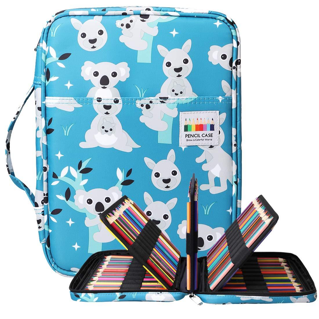 BOMKEE 220 ranuras estuche de lápices de colores, impermeable bolsa para dibujar, pintar, almacenamiento de papelería multicapa bolígrafos de gel organizador(Kangaroo): Amazon.es: Oficina y papelería