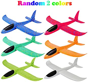 """MIMIDOU 4 Pack Glider Plane Toys, 17.5"""" Large Throwing Foam Airplane, Dual Flight Mode Flying Toy, The Best Outdoor S..."""