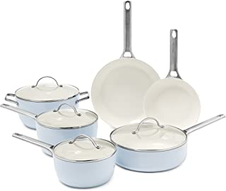 GreenPan Padova Ceramic Non-Stick 10Pc Cookware Set, Light Blue - CC000386-001