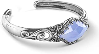 Carolyn Pollack Sterling Silver Blue Lace Agate Gemstone Scroll and Floral Filigree Cuff Bracelet Size S, M or L