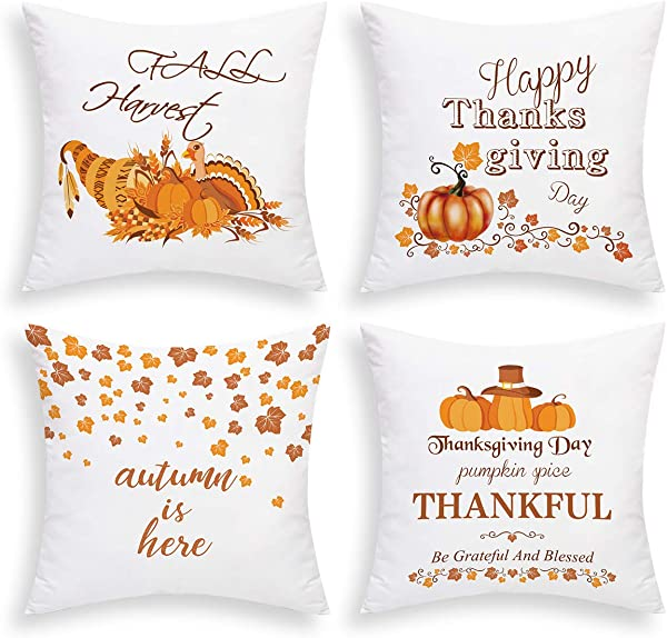 BLEUM CADE Thanksgiving Day Throw Pillow Covers Autumn Pumpkin Pillow Covers Thankful And Blessed Pillow Cases Cushion Covers Zippered Pillowcase Holiday Decorative Pillow Covers