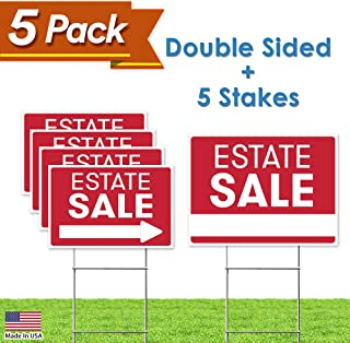 "Estate Sale Sign Bundle Kit – [Upgraded] 5 Double Sided Red Pro Real Estate Property Yard Signs Bulk Pack & Heavy Duty H Wire Stakes – Large Directional Arrows - 18""x 24"" For Sale Garage Supplies"