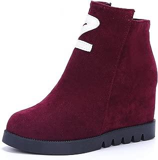 Feilongzaitianba Women Boots Wedge Heel High Top Platform Ankle Boots Short Boots Zipper Shoes