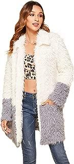 Women's Casual Fuzzy Chunky Long Teddy Coat Side Pocket Long Sleeve Open Front Parka Shaggy Faux Fur Coat Jacket
