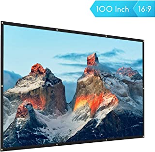 COOAU 100 inch Projection Screen 16:9 HD Portable Foldable Movie Projector Screens for Home Theater Outdoor Indoor Support Front and Rear Projection