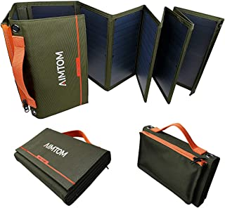 AIMTOM Portable Solar Charger – 60W Foldable Solar Panel with 5V USB and 18V DC for iPhone, Tablet, Laptop, Camera, Cell P...