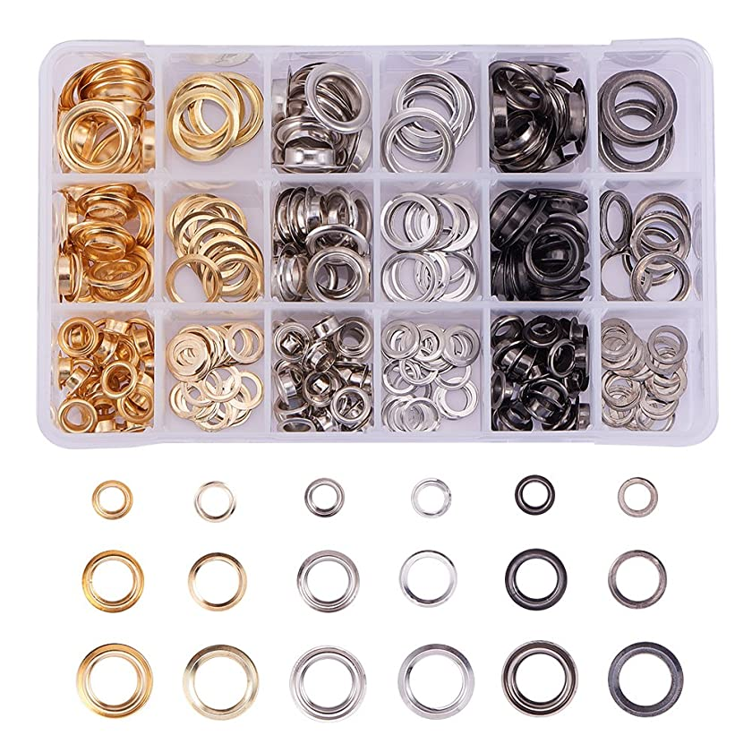 PandaHall Elite 180 Sets Grommet Eyelets Leather Rivet Repair Fasteners 1/4 2/5 1/2 Inch for Canvas Clothes and Leather DIY Craft 3 Colors
