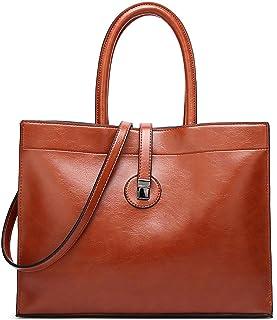 Czemo Damen Handtasche Leder Schultertasche Große Shopper Tasche Henkeltaschen Weich Vintage Damentasche Umhängetasche, Braun