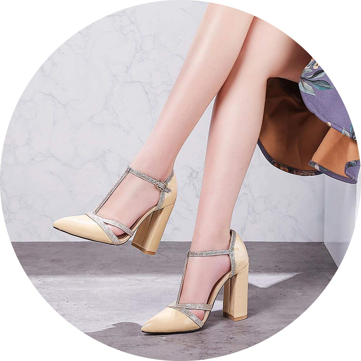 FINDYOU Patent Leather Women Pumps Spring shoes T-Strap Pointed Wedding Pumps Sexy Cut Outs Thick Heel Dress Party shoes