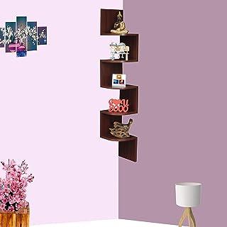 Furniture Cafe Zigzag Corner Wall Mount Shelf Unit/Racks and Shelves/Wall Shelf/Book Shelf/Wall Decoration (Matt Finish, M...