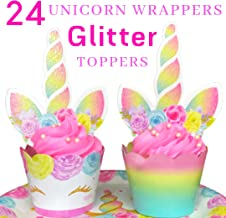 Unicorn Cupcake Toppers and Wrappers - Decorations REAL, SAFE, and SHINE GLITTER - Reversible Rainbow Cupcake Liners Cute Decorating Supplies for Girl Birthday Party (SET OF 24)