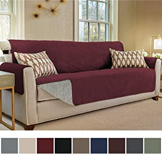 Gorilla Grip Original Slip Resistant Oversize Sofa Slipcover Protector, Seat Width Up to 78 Inch Suede-Like, Patent Pending, 2 Inch Straps, Hook, Couch Cover for Kids, Dogs, Oversized Sofa, Merlot