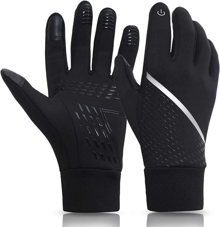KELOYI Handschuhe Herren Damen Touchscreen Winter Handschuhe Fahrradhandschuhe Winterhandschuhe Outdoor Sport Laufenhandschuhe Warme Winddichte Anti-Rutsch Schwarze