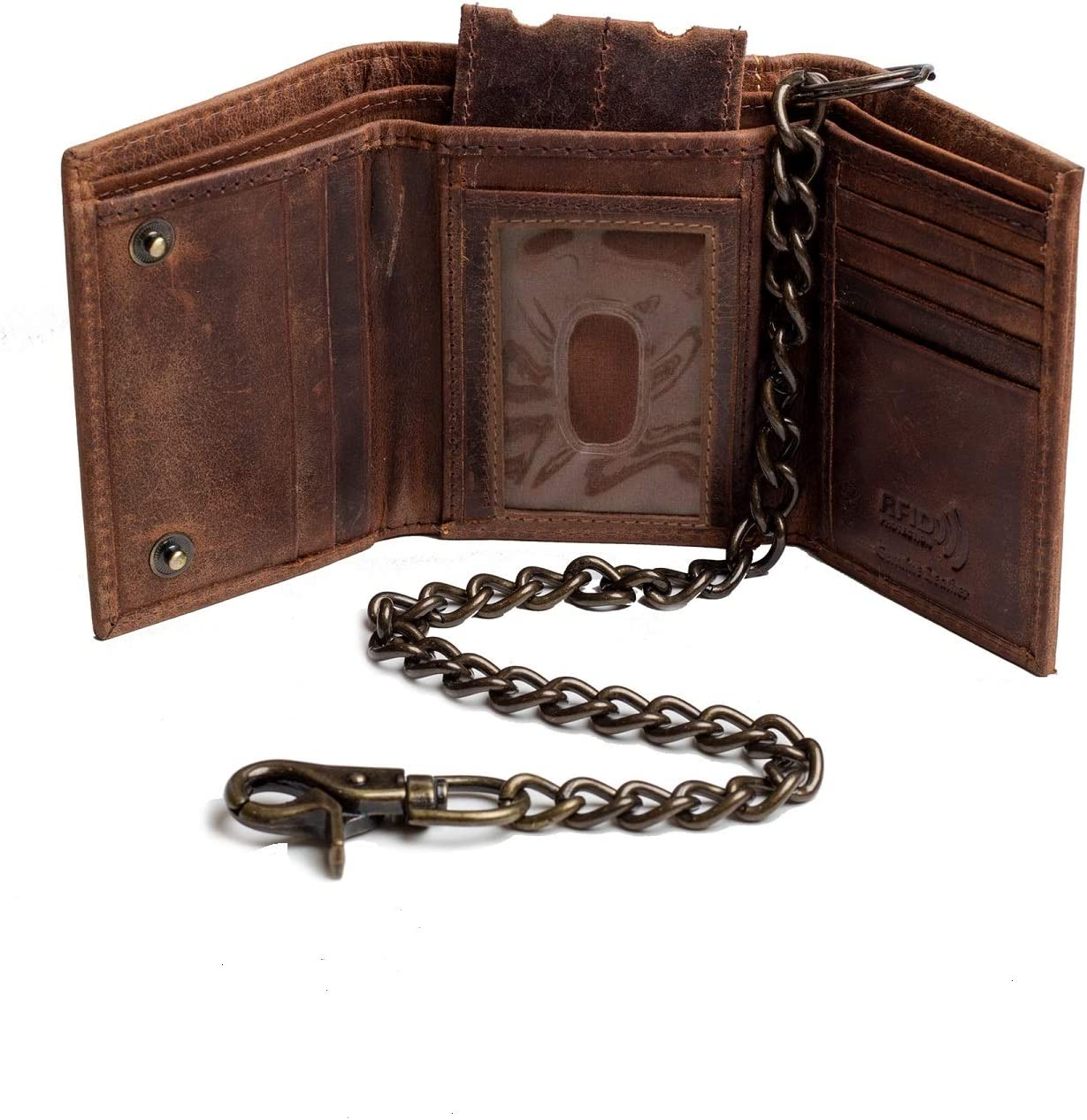 Bikers Trifold Leather Chain wallet for Men RFID safe Crazy Horse Vintage Brown Snake Texture Black J112 (Crazy Horse J112 with Chain)
