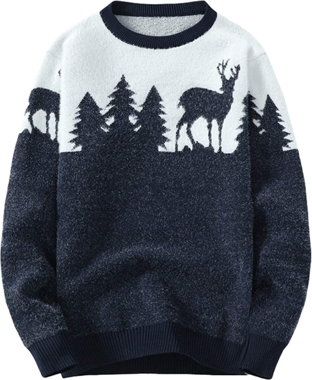 Men's Classic Sweater Pullover Round Neck Fashion Casual Animal Pattern Base