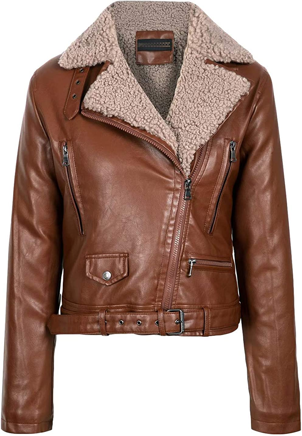 PUWEI Women's Faux Leather Sherpa Lined Zip Up Long Sleeve Belted Motorcycle Jacket
