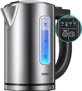 Bouilloire Électrique Thermostat Réglable, PHONECT Bouilloire Électrique Avec 2200W Ebullition Rapide, LED Avec Contrôle d...