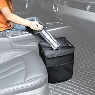 Hanging Car Trash Can Bin - PowerTiger Car Garbage Cans Bag with Lid & 3 Mesh Storage Pockets 2.64 Gallon