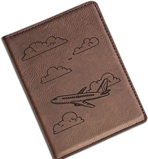 Air Plane Vegan Leather Passport Holder with Matching Luggage Tag Set, Travel Passport Wallet for Women & Men (Dark Brown, Passport Cover)