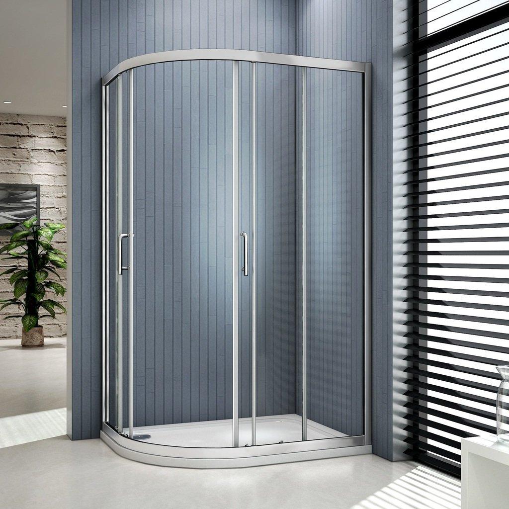Mamparas de vidrio de ducha con doble puerta corrediza de 6 mm, 1000x800mm enclosure: Amazon.es: Hogar