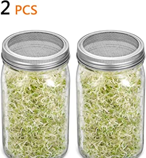 2Pcs Sprouting Lids,Superb Ventilative Stainless Steel Sprouting Lid for Wide Mouth Mason Jars Canning Jars for Making Organic Sprout Seeds in House/Kitchen