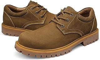 أحذية رجالية عارضة أحذية الرجال في فصل الشتاء الأح Boots for Men Round Toe Lace Up 3-eye Low Top Block Heel Plain Stitichi...