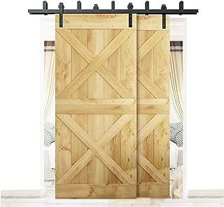 DIYHD MM20BP 8FT Barn Hardware N Bypass Bracket Double Sliding Door Track, 8 Feet Kit, Black