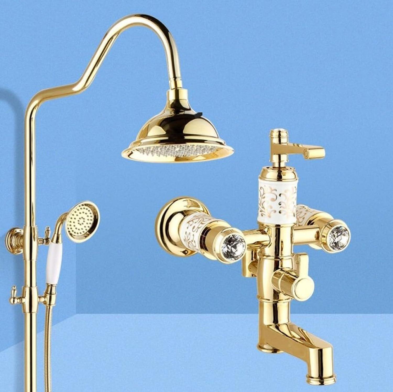 LyMei 8-Zoll-Duschsystem mit Regen Duschkopf und Handheld-Set Wand Badezimmer Dusche Wasserhahn Set mit Mischer Ventil Regendusche System, Gold