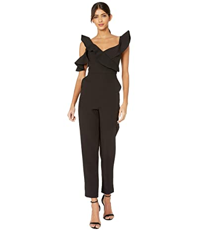 BCBGMAXAZRIA Asymmetrical Off the Shoulder Jumpsuit (Black) Women
