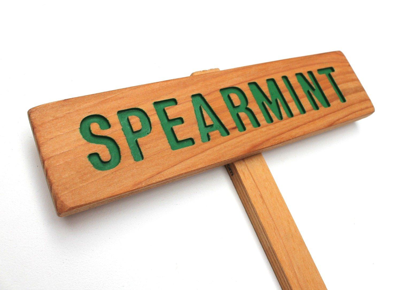 Superior SPEARMINT Garden Sign Painted Finally resale start Oil Rou Sealed Hand Wood: Cedar
