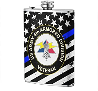 JiuHuuioz US Army 4th Armored Division Unit Crest Veteran Hip Flask Pocket Bottle Flagon 8oz with Leather Case