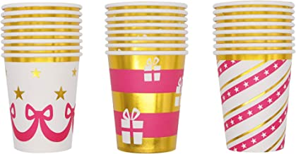 48 Count 9-ounce 3 Unique Design with Gold Foil Outline Christmas Party Drinkware Holiday Party Supplies, Xmas Disposable ...