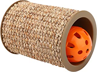 "Pawaboo Cat Scratching Post, 3.15"" Diameter Fun Cat Scratcher Sisal Wrapped Roller Pet Play Toy Chasing Toy for Cats Kittens Kitty, Yellow"