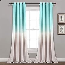 مجموعة ستائر معتمة للنافذة من Lush Decor Aqua and Gray Umbre Fiesta للمعيشة وغرفة الطعام وغرفة النوم (زوج)، طول 241.32 سم...