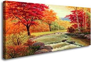 H70862 Autumn Trees Canvas Wall Art Set Forest Mountain Waterfall Canvas Print Paintings Landscape Pictures Modern Painting for Home Office Bedroom Kitchen Decorations Wall Decor
