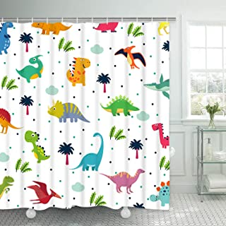 BLEUM CADE Dinosaurs Shower Curtain, Cute Dinosaurs Shower Curtain with 12 Hooks Cartoon Kids Jurassic Bathroom Shower Curtain Waterproof Durable Shower Curtain