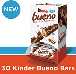 Kinder Bueno Milk Chocolate and Hazelnut Cream Candy Bar, 30 Individually Wrapped Bars Per Pack