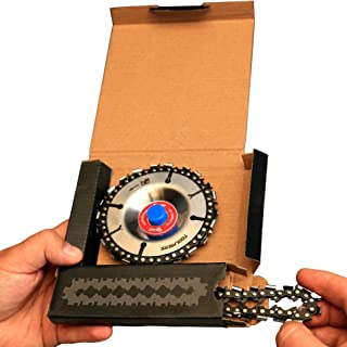 Grinder Wood Carving Chain Disc – Woodcarving Saw Blade with Extra Chain in Set, 4 Inch, 22 Teeth, 5/8