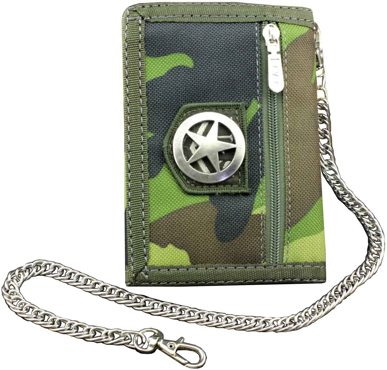 Men's Boy's Army Camouflage wallet Card Purse with safty Chain