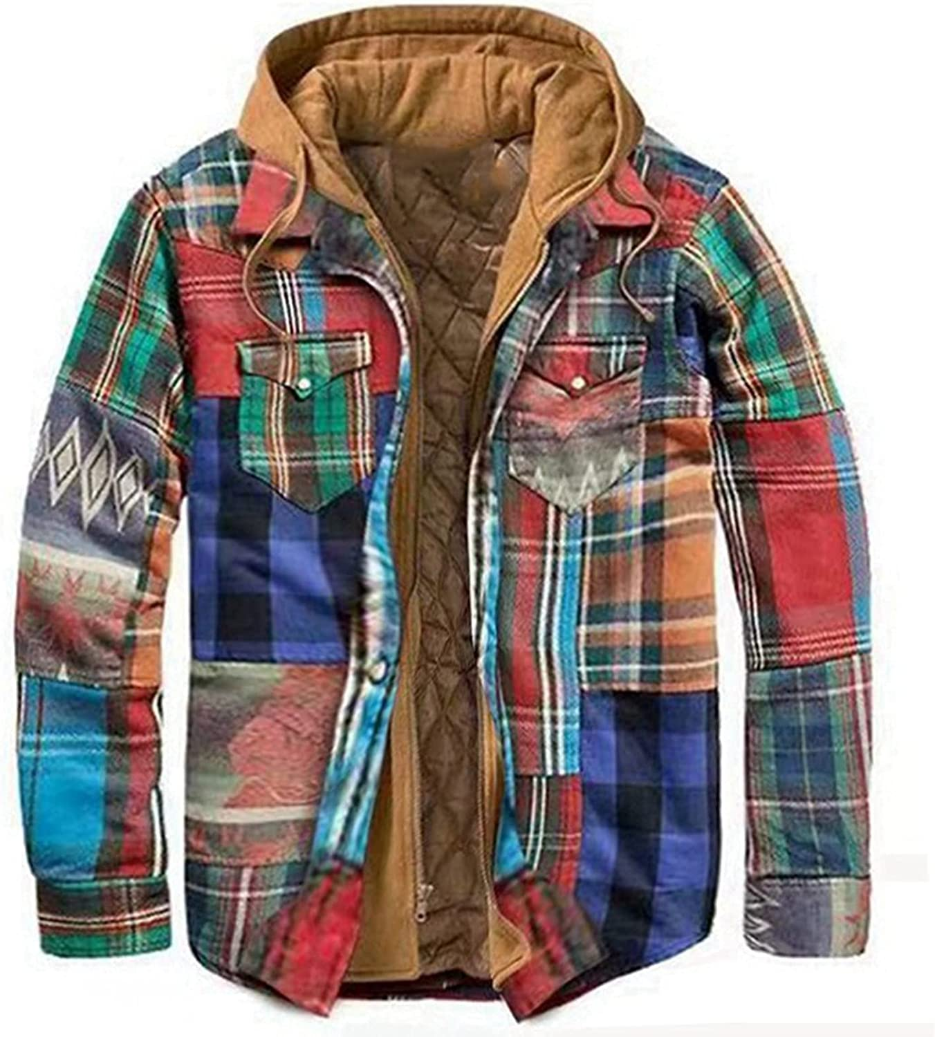 Men's Plaid Sweatshirts Casual Thick Zipper Hooded Jacket Loose Long Sleeve Pocketed Hoodies Lightweight Comfy Coat
