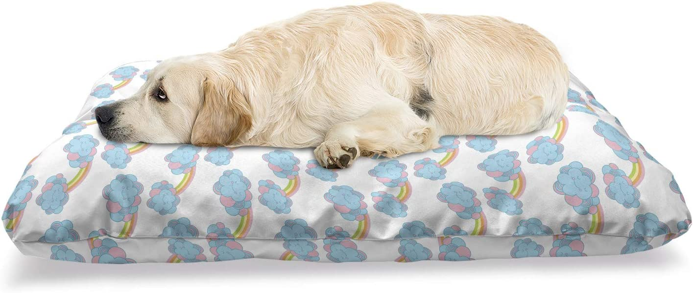 Ambesonne Rain Pet Bed Nursery Boston Mall with New Shipping Free Doodle Themed Smili Pattern