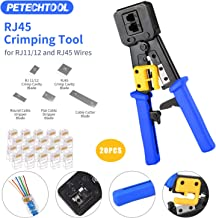 RJ45 Professional Crimp Tool Pass Through Cat5 Cat5e Cat6 Heavy Duty Crimping Tool(Blue) for RJ45/RJ12 Regular and End-Pass-Through Connectors with 20PCS RJ45 Cat6 Connectors and 5 Free Blades