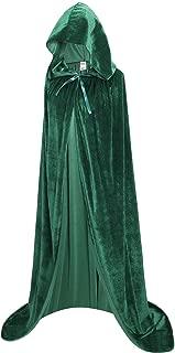 Unisex Full Length Hooded Robe Cloak Long Velvet Cape Cosplay Costume 59 inch